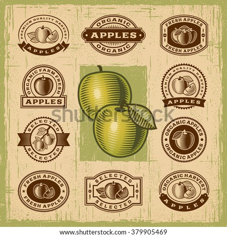 Vintage apple stamps set. Editable EPS10 vector illustration with transparency.