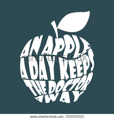 Vintage apple word collage An apple a day keeps the doctor away - stock vector