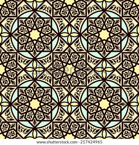 Vintage arabic and islamic background, ethnic style ornaments, geometric ornamental seamless pattern, decorative vector wallpaper, fashion fabric and wrapping with graphic elements for design - stock vector