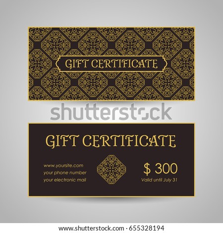Vintage Arabic Style Gift Certificate Template Stock Vector Hd