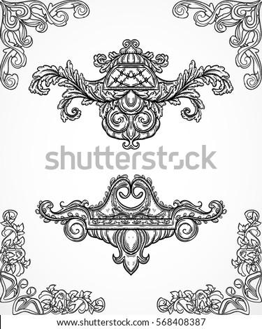 Vintage architectural details design elements antique for Classic border design