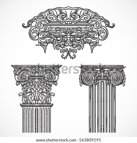 Hand drawn set architectural classical orders stock vector for Baroque architecture elements