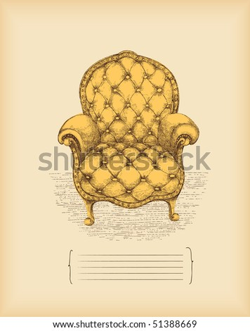 vintage armchair -drawing -vector