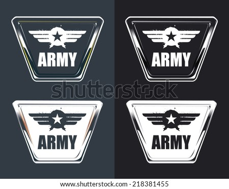 vintage army glossy shields - stock vector