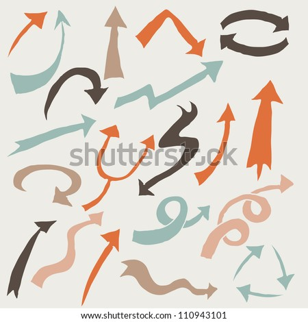 Vintage Arrow Sign Vector Arrows Icons Isolated