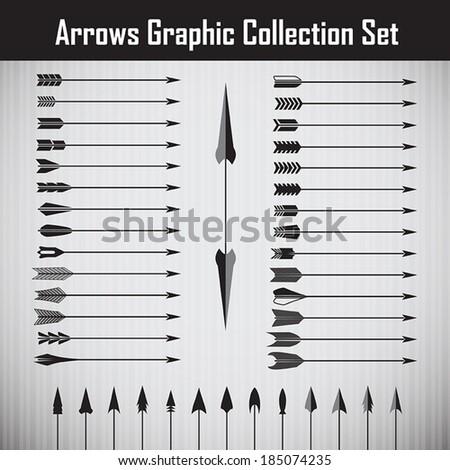 Vintage arrows set - stock vector