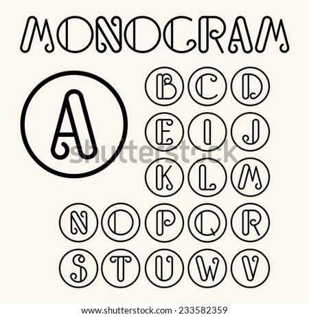 Vintage Art Nouveau font for your monograms and logos - stock vector