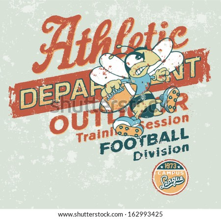 Vintage Athletic department with wasp character - Grunge vector  artwork for baby and kid wear in custom colors - stock vector