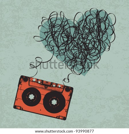 Vintage audio cassette illustration with heart shaped messy tape. Vector, Eps10 - stock vector