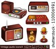 Vintage audio icons 2 - stock vector