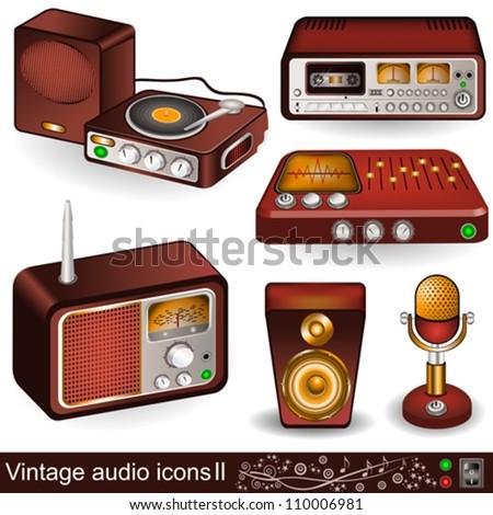 Vintage audio icons 2 - stock vector