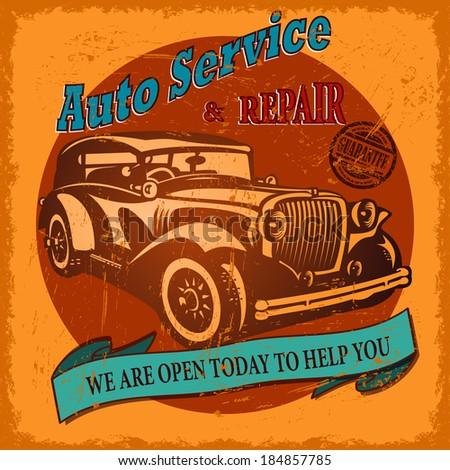 Vintage Auto Service retro poster - stock vector