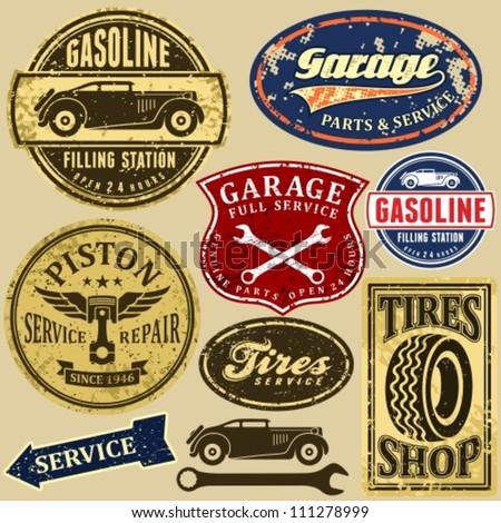 Vintage Collection Car Related Signs Logos Stock Vector - Car signs logos
