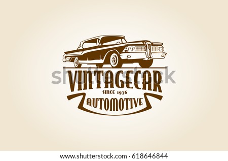 Vintage Automotive Logo Template With The Image Of Retro Classic Car For Your Company