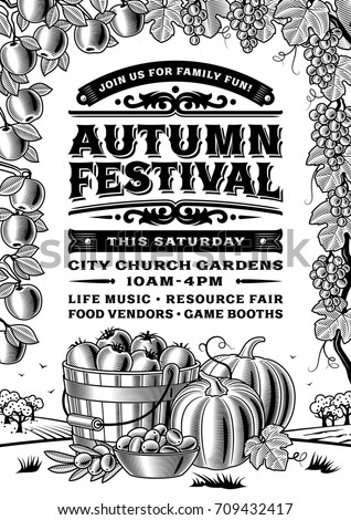 Vintage autumn festival poster black and white editable vector illustration in retro woodcut style with
