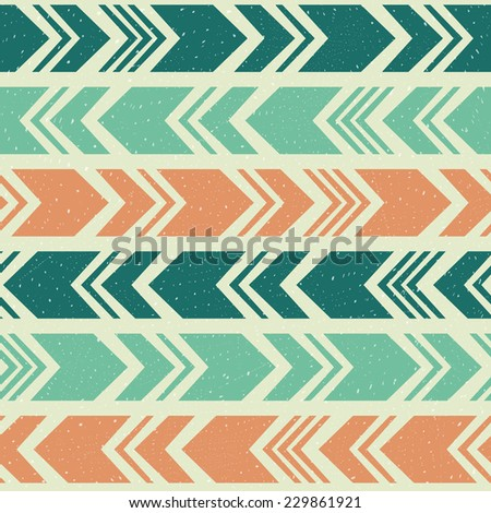 Vintage aztec ethnic seamless pattern, tribal blue and orange background - stock vector