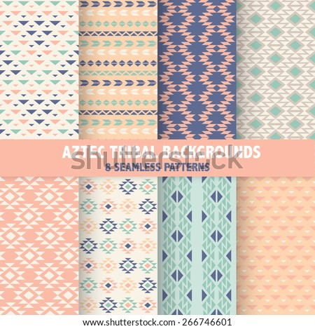 Vintage Aztec Tribal Backgrounds - 8 Seamless Patterns - in vector - stock vector