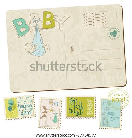 Vintage Baby Boy Arrival Postcard in vector - stock vector