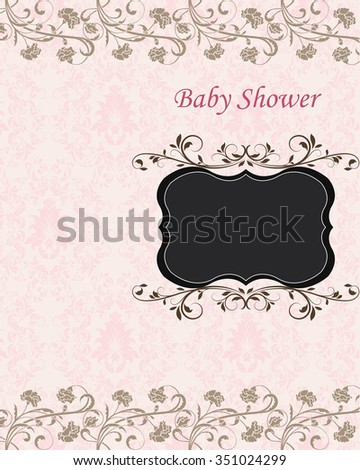 Vintage Baby Shower invitation card with ornate elegant retro abstract floral design. Vector illustration.