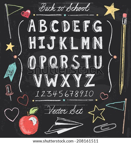 Vintage Back to School Chalkboard Hand Drawn Vector Set  - stock vector