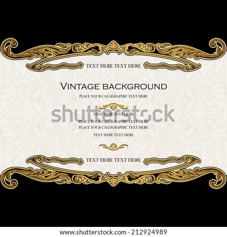 Vintage background, antique invitation card, royal greeting with lace, floral ornament, beautiful, luxury black postcard, ornate page cover, gold ornamental pattern template, elegant layout for design - stock vector