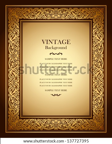 Vintage background, antique ornamental frame, victorian gold ornament, beautiful old paper, luxury certificate, award, royal diploma, ornate cover page, floral pattern, achievement template - stock vector