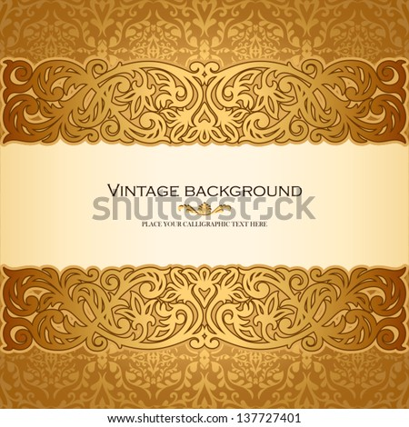 Vintage background, antique, victorian golden ornament, baroque frame, beautiful old paper, card, ornate cover page, label; floral luxury ornamental pattern template for design - stock vector