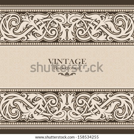 Vintage background, antique, victorian ornament, baroque frame, beautiful old paper, card, ornate cover page, label, floral luxury ornamental pattern template for design - stock vector