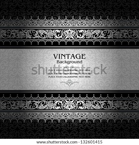 Vintage background, antique, victorian silver ornament, baroque frame, beautiful old paper, royal card, ornate cover page, label; floral luxury ornamental pattern template for design - stock vector