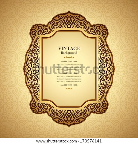Vintage background design, elegant book cover, victorian style invitation card, golden greeting, floral ornamental frame, certificate template, label, royal luxury ornament, layout for decoration - stock vector