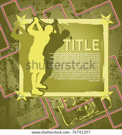 Vintage background design with golf player silhouette. Vector illustration. - stock vector