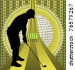 Vintage background design with golfer silhouette. Vector illustration. - stock vector