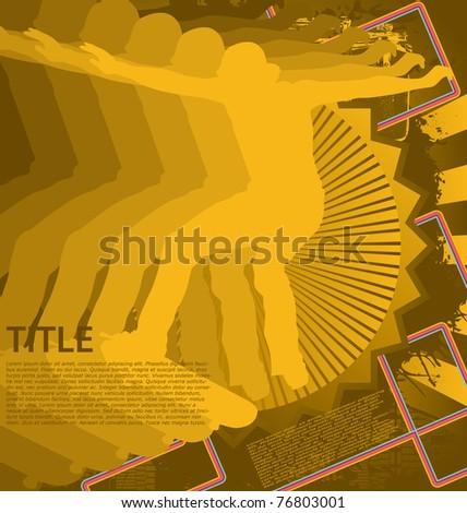 Vintage background design with skateboarder silhouette. Vector illustration. - stock vector