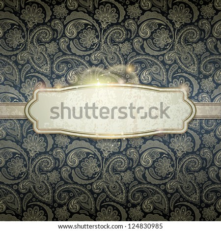 vintage background, EPS 10, contains transparency objects , also you can use background ornament as seamless pattern ,all elements are located on separate layers and available to editing - stock vector