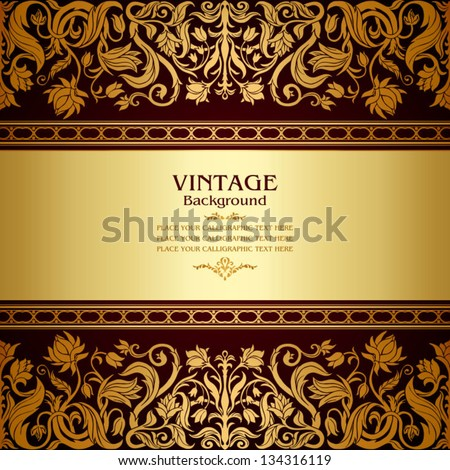 Vintage background, floral antique card, victorian gold ornament, baroque frame, beautiful, luxury, old decor, royal, ornate cover page, summer and spring style pattern template for design - stock vector