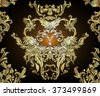 Vintage background golden baroque seamless pattern. Wallpaper baroque pattern, for textile design. Elegant linear style floral ornament in gold an black colors.  - stock vector