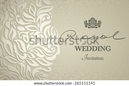 Vintage background, greeting card, invitation with lace ornament, abstract floral pattern template for wedding  - stock vector