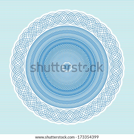 Vintage background,  Guilloche ornamental Element for Certificate, Money, Diploma, Voucher, decorative round frame - stock vector