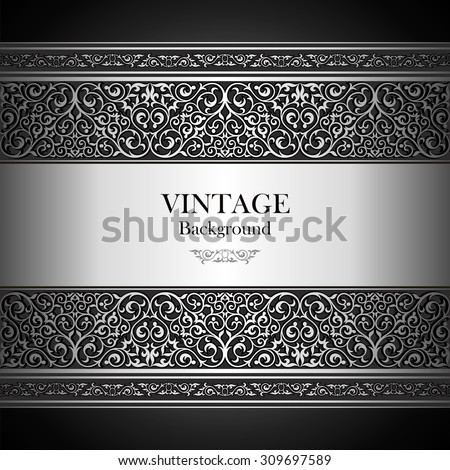 Vintage background, islamic style ornament, elegant book cover, text lettering of invitation and greeting card with floral lace, ornate page cover, ornamental pattern template, rich layout for design - stock vector