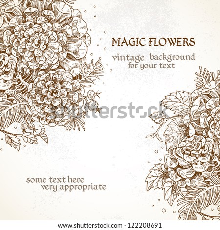 Vintage background Magic flowers - stock vector