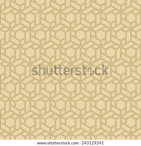 vintage background or wallpaper pattern of gold hexagonal blocks. can be tiled seamlessly. - stock vector