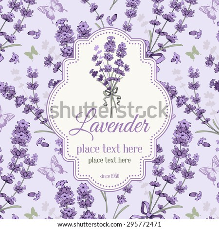 Vintage background, packaging or wrapping with hand drawn floral elements in engraving style - fragrant lavender. Vector illustration. - stock vector
