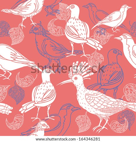 Vintage background, pink fashion seamless pattern with birds