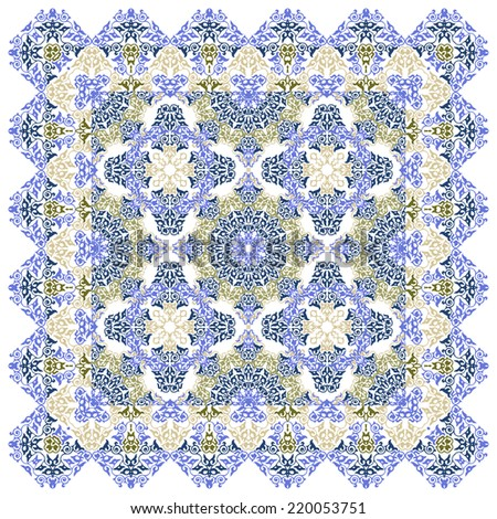 Vintage Background Traditional Ottoman motifs.Decorative colorful seamless pattern in mosaic ethnic style.Floral ornament background.Vector illustration - stock vector