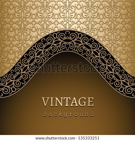 Vintage background, vector gold ornamental template - stock vector