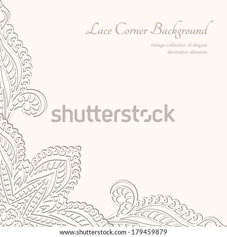 Vintage background, vector lace corner ornament - stock vector