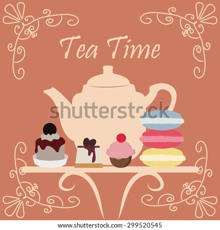 Vintage background with a teapot and desserts. Vector illustration - stock vector