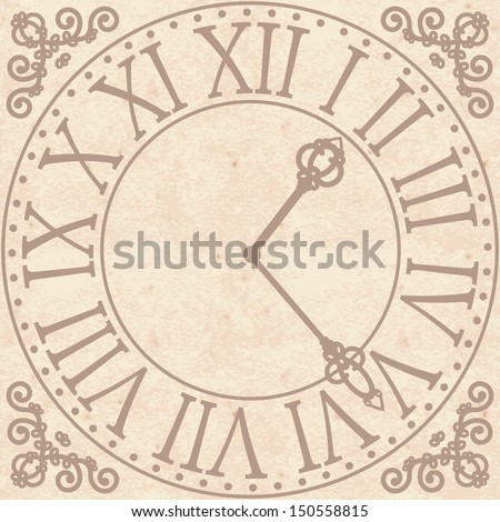 Vintage background with antique clock face  - stock vector