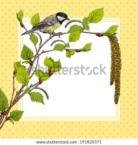 Vintage background with birch branches and bird tit - stock vector