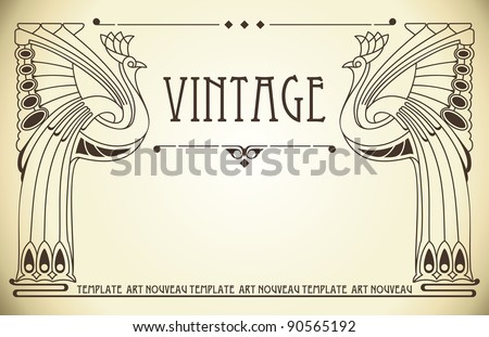 Vintage background with bird of happiness - stock vector